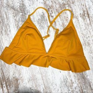 Cupshe Mustard Yellow Ruffle Bikini Top